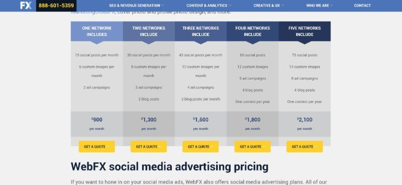 Social Media Management Charge Cost Price Guide Example WebFX