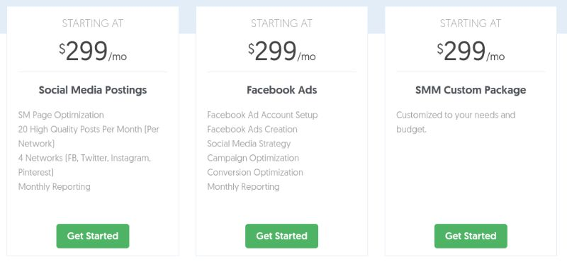 Tiered Social Media Marketing Packages are great for grouping similar services together